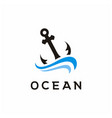 anchor silhouette with waves for boat ship navy vector image vector image