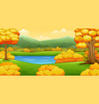 autumn landscape with rivers and trees vector image