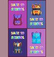 back to school schoolbag set vector image vector image