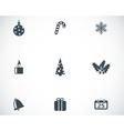 black christmas icons set vector image vector image