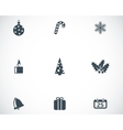 black cristmas icons set vector image vector image