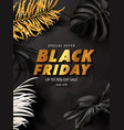 black friday sale background with tropical leaves vector image vector image