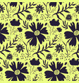 bright yellow and black floral pattern vector image vector image