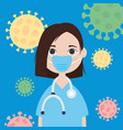 cartoon doctor woman with mouth mask colorful vector image vector image