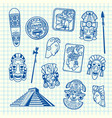 cartoon summer travel elements tiki mask vector image