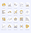 chart types flat line icons linear graph column vector image vector image