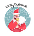 Christmas of fun santa with ice cream vector image