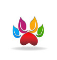 colorful paw leafs abstract icon vector image