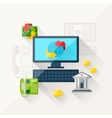 concept of banking online in flat design style vector image vector image