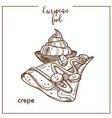 crepe pancake sketch icon for european french food vector image vector image