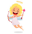 cupid holds love bow and arrow vector image