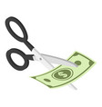 cut money icon isometric style vector image