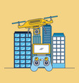 drone flying remote control and city building vector image vector image