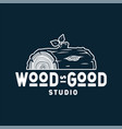 emblem with lumber log for wood carving studio vector image vector image