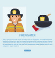 firefighter in uniform with wooden axe vector image vector image