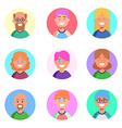 Flat design colorful icons collection of people vector image