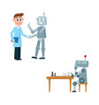 flat robots and people set vector image vector image