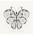 Floral black pattern in shape of a butterfly vector image