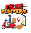 free delivery logo with bike man or courier vector image vector image