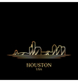 Gold silhouette of Houston on black background vector image