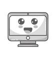 grayscale kawaii cute happy screen monitor vector image vector image