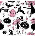 hand drawn seamless pattern with cute witches vector image