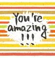 Handwritten inscription You are amazing vector image