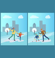 hockey training of father and son skating on ice vector image vector image
