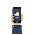 human hand holding smartphone with weather vector image
