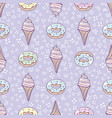 ice-cream cone and donut sweet set seamless vector image