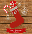 Knitted Christmas sock vector image