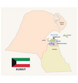 kuwait administrative and political map with flag vector image vector image