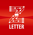 logo letter Z in the form chip on a red background vector image vector image