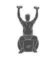 man trains on a ball with dumbbells on a white vector image vector image