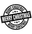 merry christmas round grunge black stamp vector image vector image