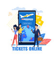 mobile application tickets online vector image vector image
