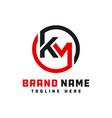 monogram logo design letter km vector image