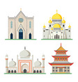 orthodox and catholic church pagoda and mosque vector image
