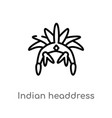 outline indian headdress icon isolated black vector image vector image