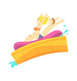 people having fun on a water slides at water park vector image vector image