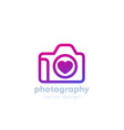 photography logo with a camera and heart vector image