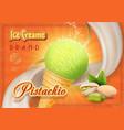 pistachio nuts ice cream advertising vector image
