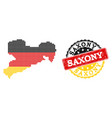 pixelated map of saxony state colored in german vector image vector image
