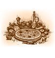 Pizza drawn by hand vector | Price: 1 Credit (USD $1)