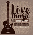 poster for concert live music with acoustic guitar vector image vector image
