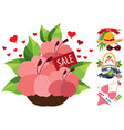 sale flowers swimsuit beach bag hat sunglasses vector image vector image
