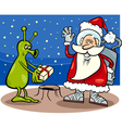 santa claus and alien cartoon vector image vector image