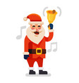 santa claus with gold christmas bell vector image vector image