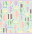 seamless pattern with wetland plants reed water vector image vector image