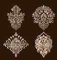set of damask ornamental elements elegant vector image